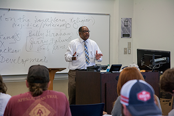 Department Head Sandy Martin lectures undergraduate students